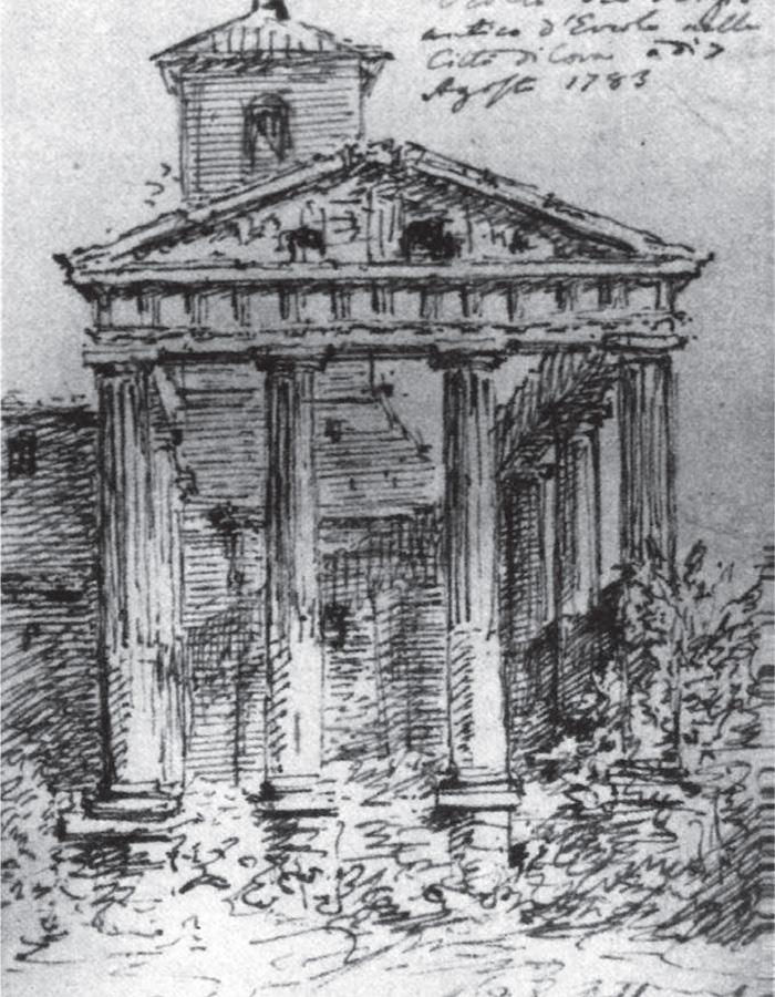 Fig.1 : G. Subleyras, [Cori schizzo del tempio di Ercole], 1783 (da: M. Marini, Le vedute di Roma di Giovanni Ba ista Piranesi, Roma 2006, p. 41).