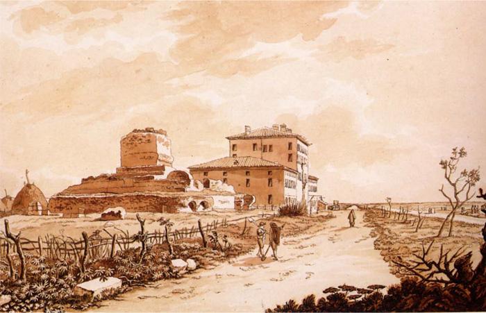 Fig.5 : La statio ad Medias, lungo il tratto pontino della via Appia, in un disegno di C. Labruzzi 1789. Roma, Biblioteca Apostolica Vaticana.
