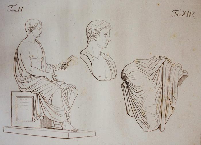 Fig.1 : Le statue di Tiberio, di Claudio e di altro imperatore «trovate all'Antico Priverno» (da Guattani 1819).