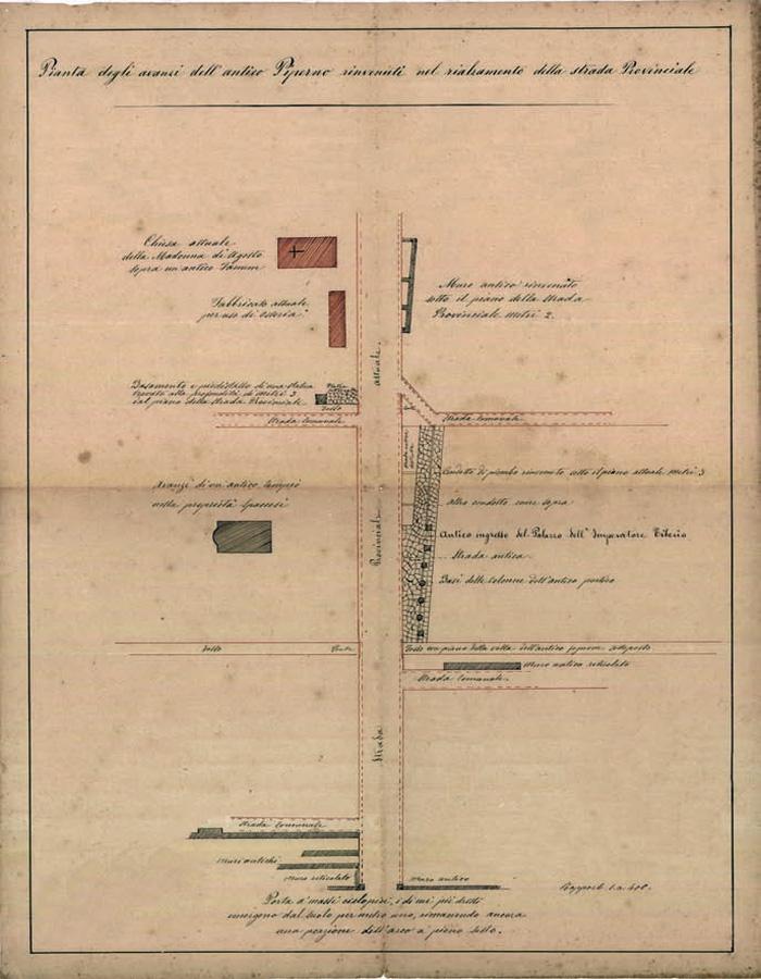 Fig.10 : Pianta degli avanzi dell'antico Piperno - 1901 (cortesia G. Iannicola).