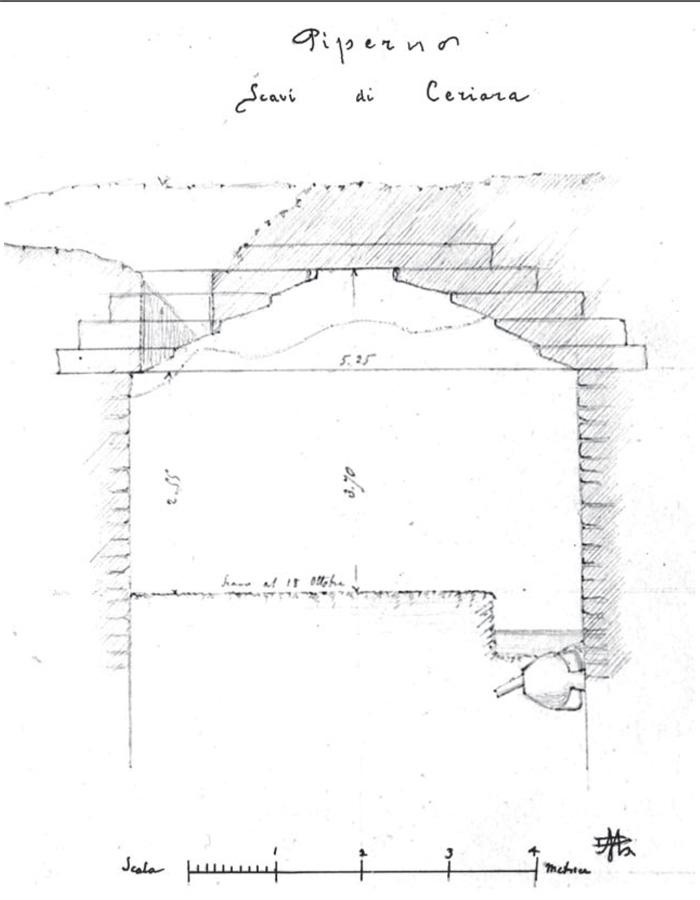 Fig.12 : L'ambiente con copertura a tholos di Ceriara in un disegno manoscritto. Roma, Archivio Centrale dello Stato.