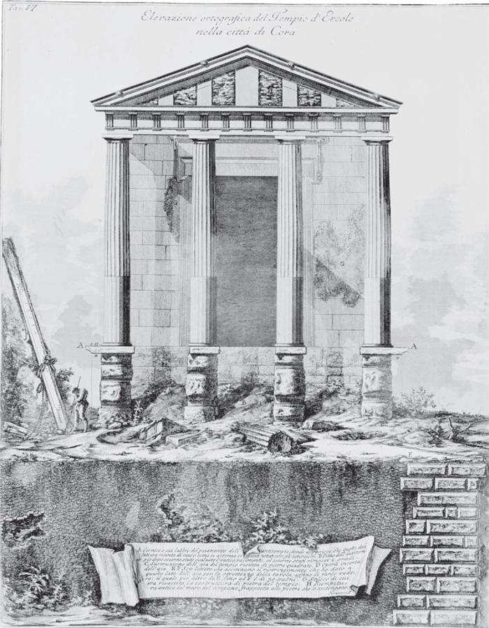 Giovanni Battista Piranesi, Cori: tempio di Ercole, Tav. VI (Roma, Calcogra a Nazionale).
