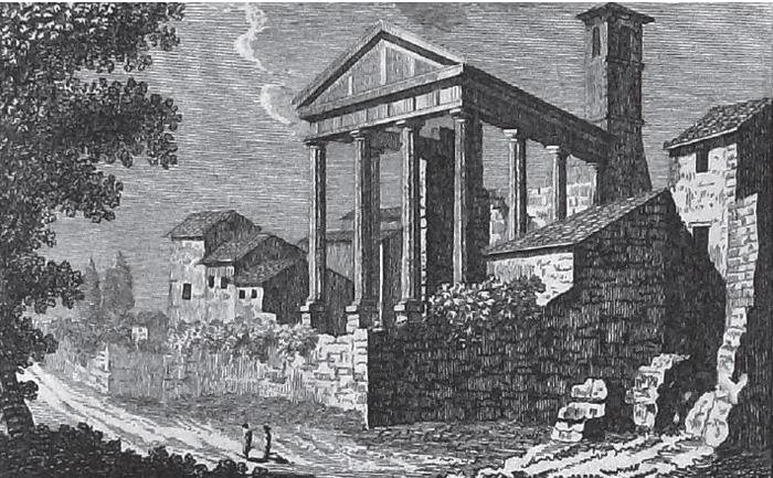 Fig.2 : D. Pronti, Veduta del Tempio d'Ercole nella Ci à di Cora, 1795 (Roma, Biblioteca Fondazione Marco Besso).