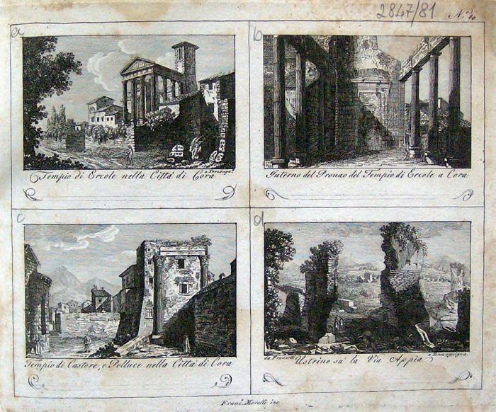 Fig.3 : F. Morelli, Cori tempio d'Ercole e tempio dei Dioscuri, inizio XIX sec. (Roma, Biblioteca Fondazione Marco Besso)