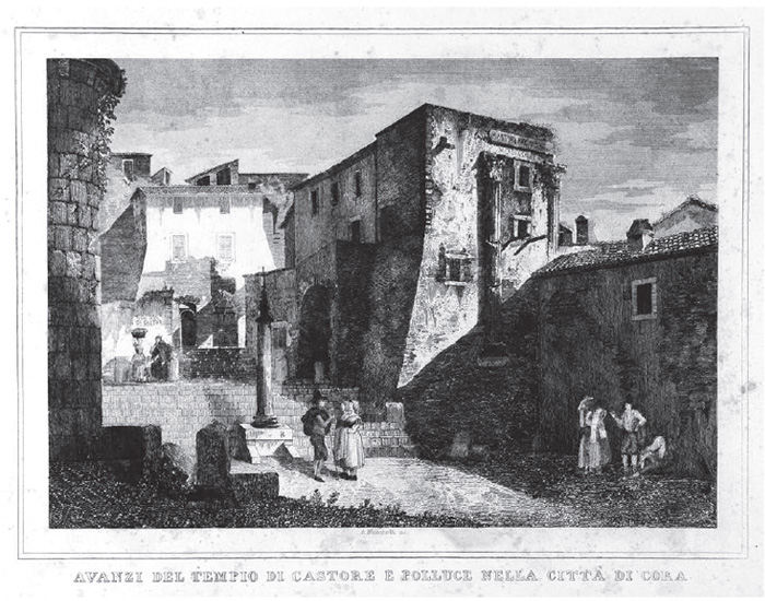 Fig.4 : A. Mosche i, Avanzi del Tempio di Castore e Polluce nella Città di Cora, 1846 (Roma, Biblioteca Istituto di Archeologia e Storia dell'Arte).