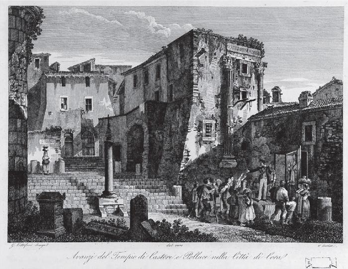 Fig. 5 : G. Cottafavi, Avanzi del Tempio di Castore e Polluce nella Ci à di Cora, 1843 (Roma, Biblioteca Istituto di Archeologia e Storia dell'Arte).