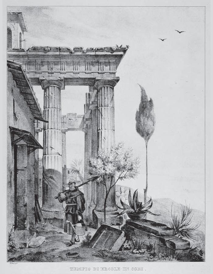 Fig: 6 : W. Gail, Tempio di Ercole in Cori, 1829 (Roma, Biblioteca Istituto di Archeologia e Storia dell'Arte).
