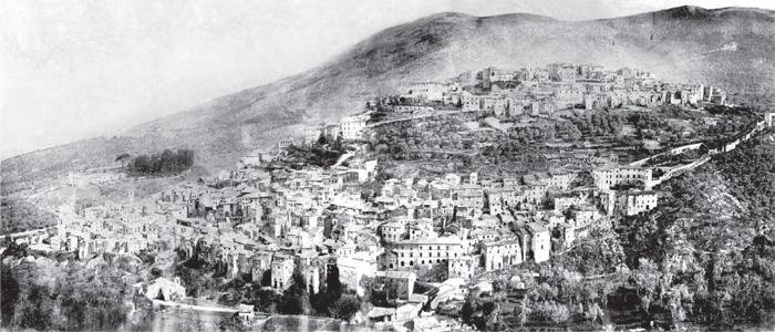 Fig.1: Veduta della città di Cori, autore anonimo.