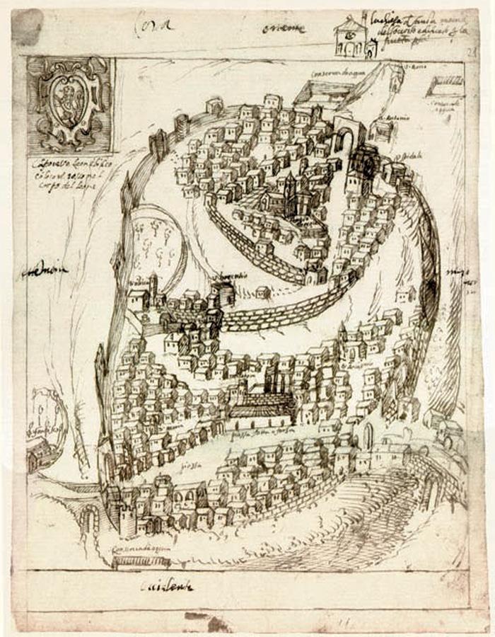 Fig.2: Anonimo, Veduta della città di Cori, ultimo ventennio