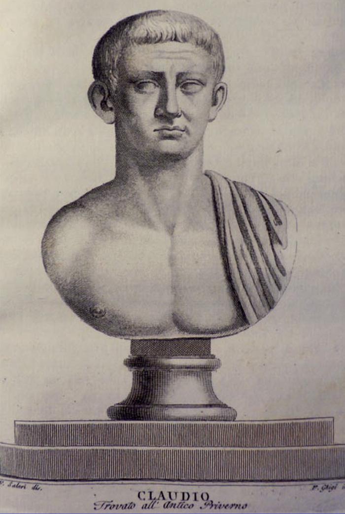 Fig.2 : La statua di Claudio illustrata nei Monumenti antichi inediti per l'anno 1805 di G.A. Guattani.