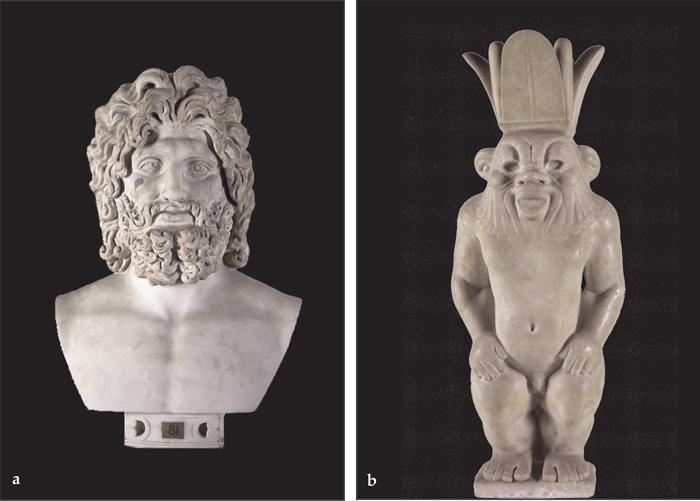 Fig.4 : Marmi da Privernum 'scoperti, dispersi e ritrovati': a. Testa di Giove-Serapide (inizi III sec. d.C.); b. Statua del dio Bes (II sec. d.C.). Roma, Musei Vaticani.