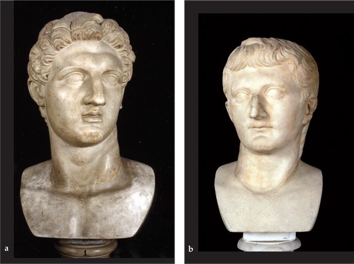 Fig.7 : Sculture da Privernum ai Musei Capitolini: a. Testa colossale (rilavorata) di Athena Promachos - seconda metà II sec. a.C.; b. Ritratto postumo di Germanico.