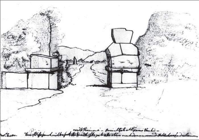 Fig.8 : Un'antica porta a Piperno Vecchio. Edward Dodwell, 1810. London, Soane's Museum.