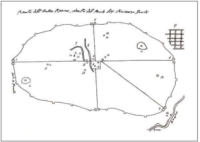 Fig.9  : Pianta dell'antico Piperno -  fine XIX sec. Collezione privata.