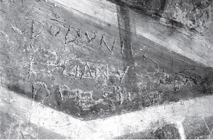 Fig.12 : Cori. Oratorio della SS. Annunziata. Iscrizione gra ta, ultimo ventennio del Quattrocento.