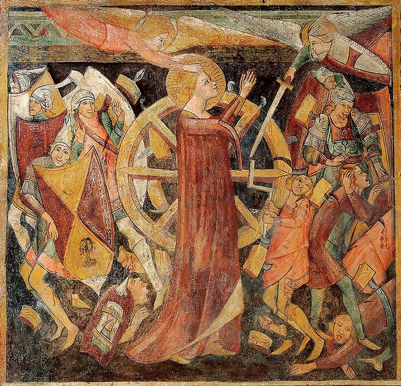 18 – Priverno, Chiesa di S. Giovanni Evangelista: Martirio di Santa Caterina d'Alessandria, sec. XIII-XIV.