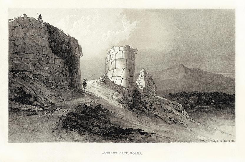 3 – Edward Lear, Antica porta di Norba, 1841 (Archivio di Stato di Latina).
