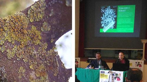 A sinistra i licheni crostosi, a destra la Professoressa Sonia Ravera