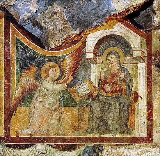 """ill.13 : Santuario del Crocefisso, grotta, """"Annunciazione""""."""
