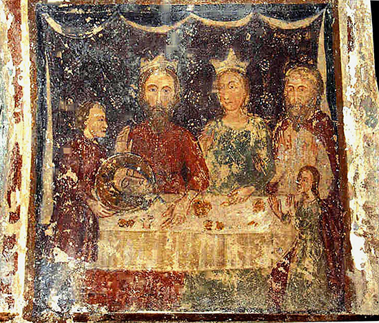 """ill.5 : Chiesa di S.Nicola, affresco raffigurante il """"Banchetto di Erode"""""""