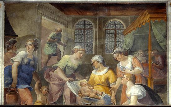 ill.5 : Collegiata S.Maria Assunta, Bernardino Cesari e aiuti, 1603, Coro con le Storie della Vita della Vergine, affresco.