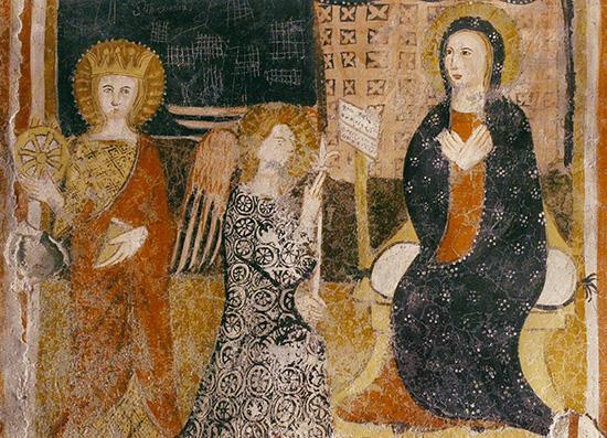 ill.14 : Chiesa di San Michele Arcangelo,  Pietro Coleberti (?) sec. XV, Annunciazione, affresco.