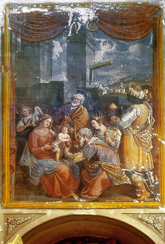 """ill.15 : Chiesa del SS.Salvatore, """"Adoragione dei Magi""""."""