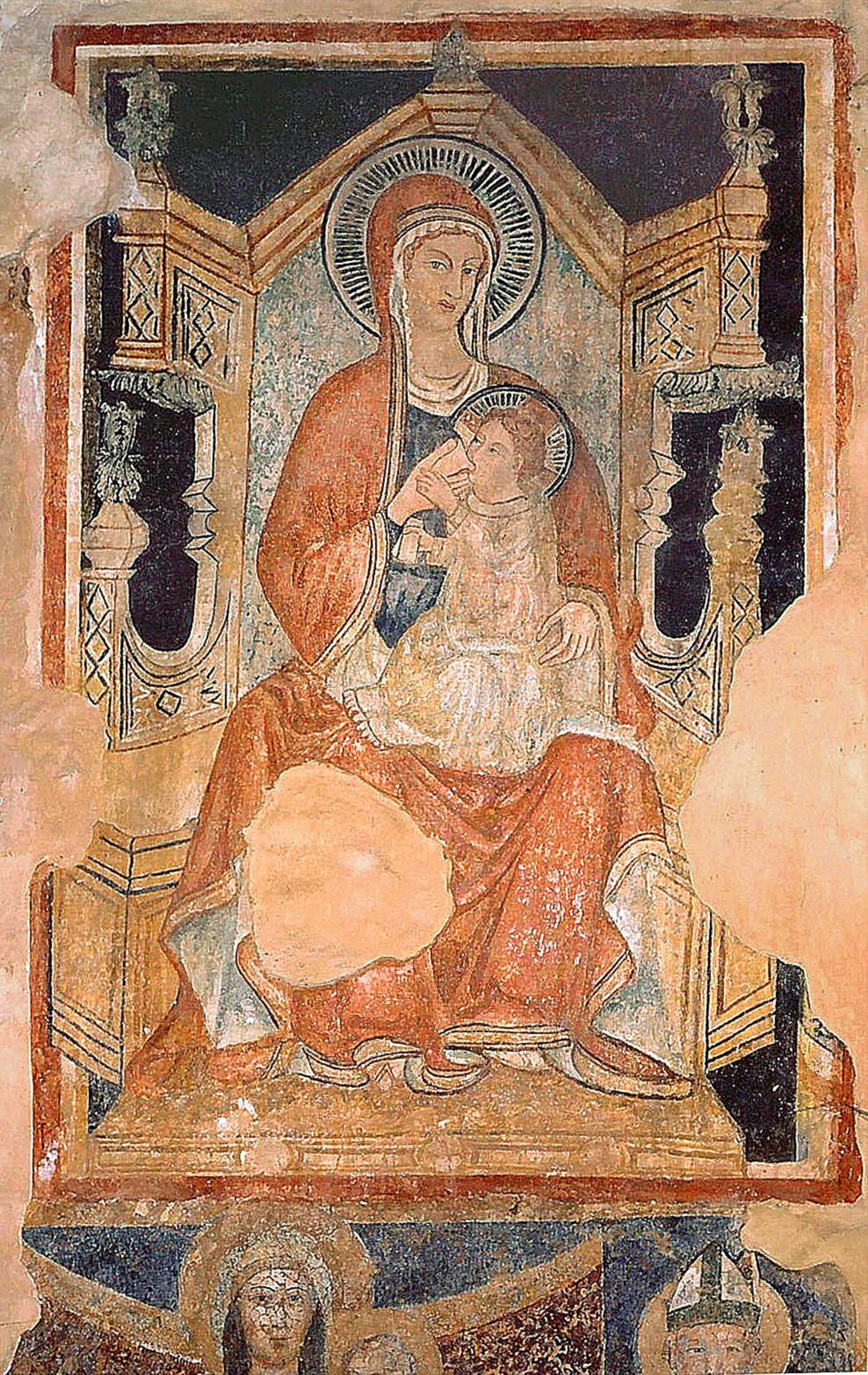 ill.15: Scuola privernate sec. XV, Madonna del latte, affresco