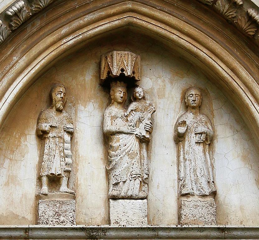 ill. 17 : Autore ignoto (sec. XIII-XIV), Lunetta con la Madonna con il Bambino e santi