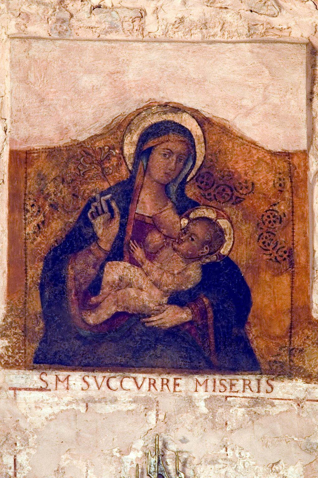"""ill.26: Scuola privernate, sec. XVII (?), Madonna """"Succurre Miseris"""", affresco"""