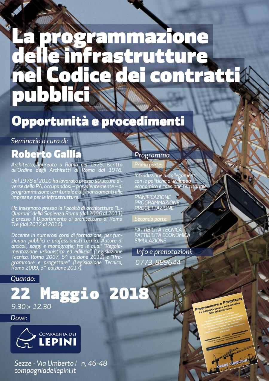 La programmazione delle infrastrutture nel Codice dei contratti pubblici @ Compagnia dei Lepini | Sezze | Lazio | Italia