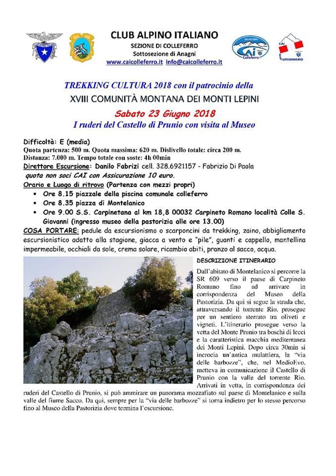 Giornata di trekking culturale @ Colleferro | Lazio | Italia