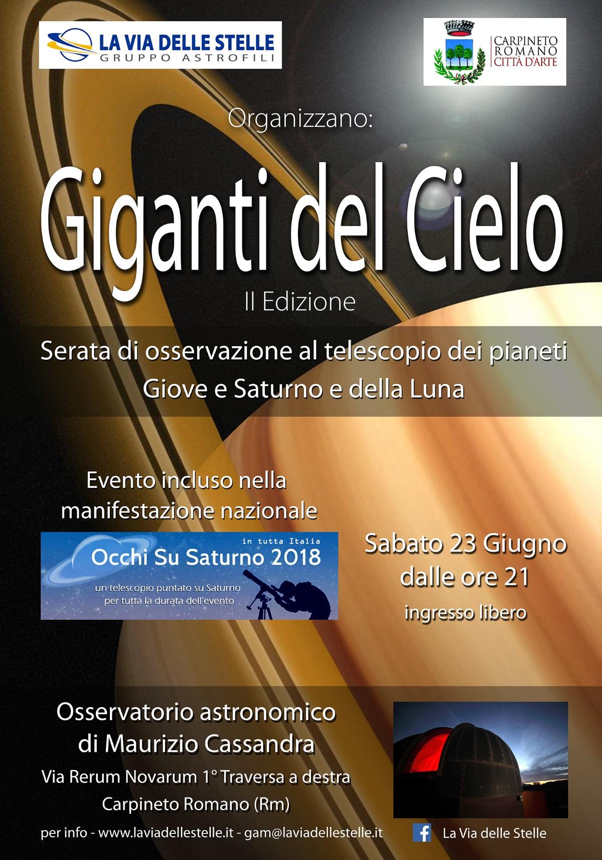 Carpineto Romano: Giganti del cielo @ Osservatorio astronomico di Maurizio Cassandra | Carpineto Romano | Lazio | Italia