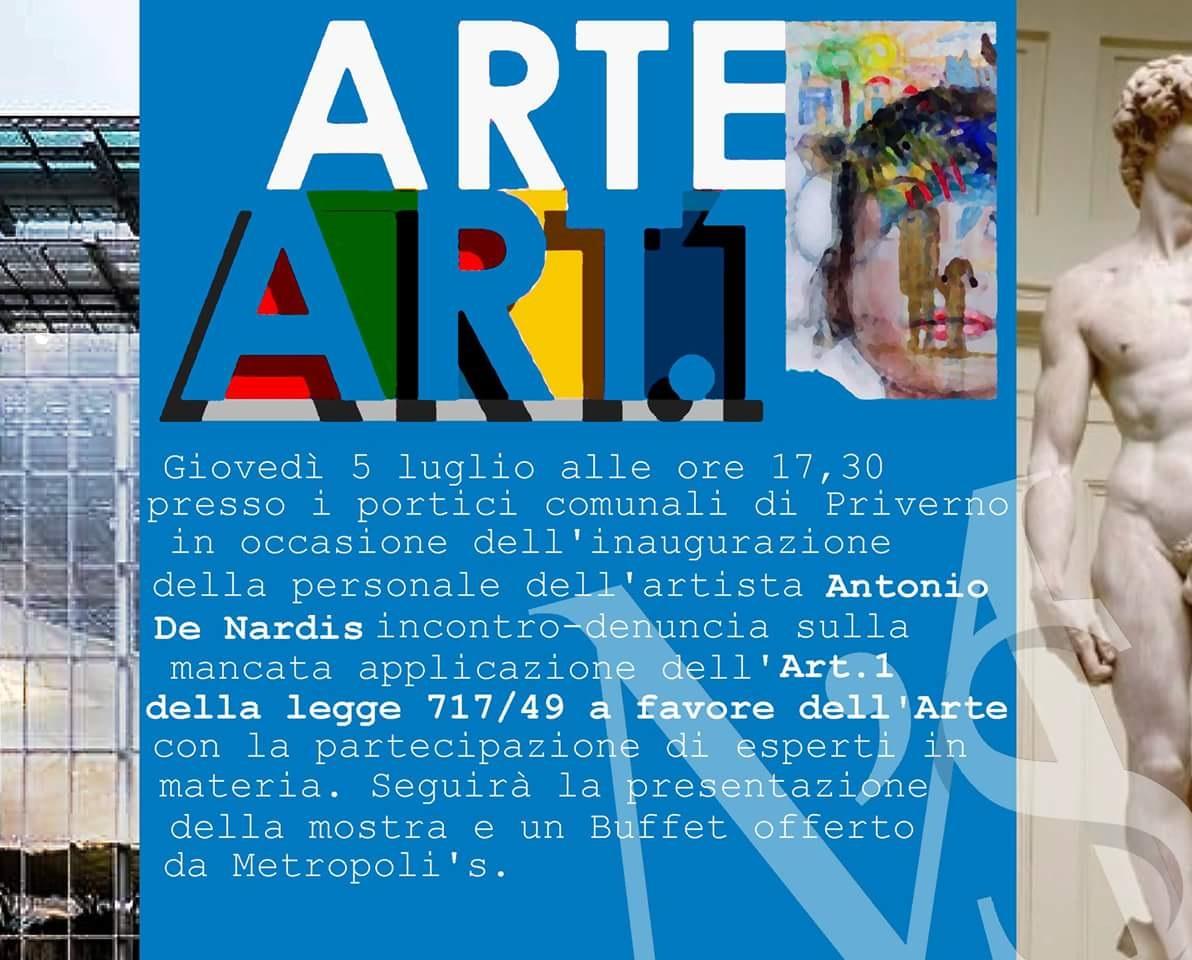 Priverno: Arte Art.1 @ Portici Comunali | Priverno | Lazio | Italia