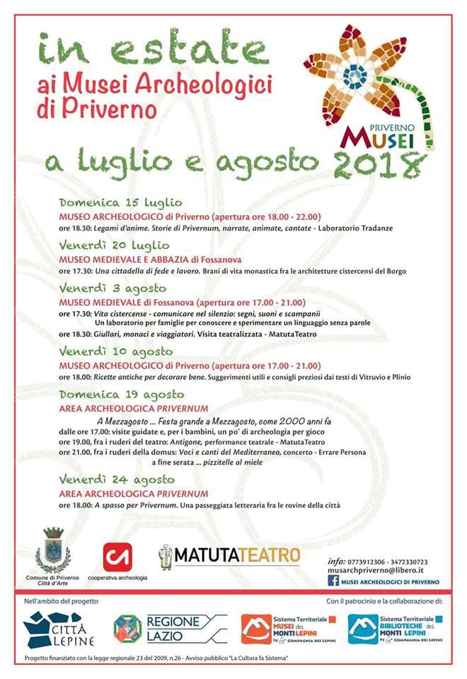 Città Lepine Priverno: In estate ai musei archeologici di Priverno @ Musei | Priverno | Lazio | Italia