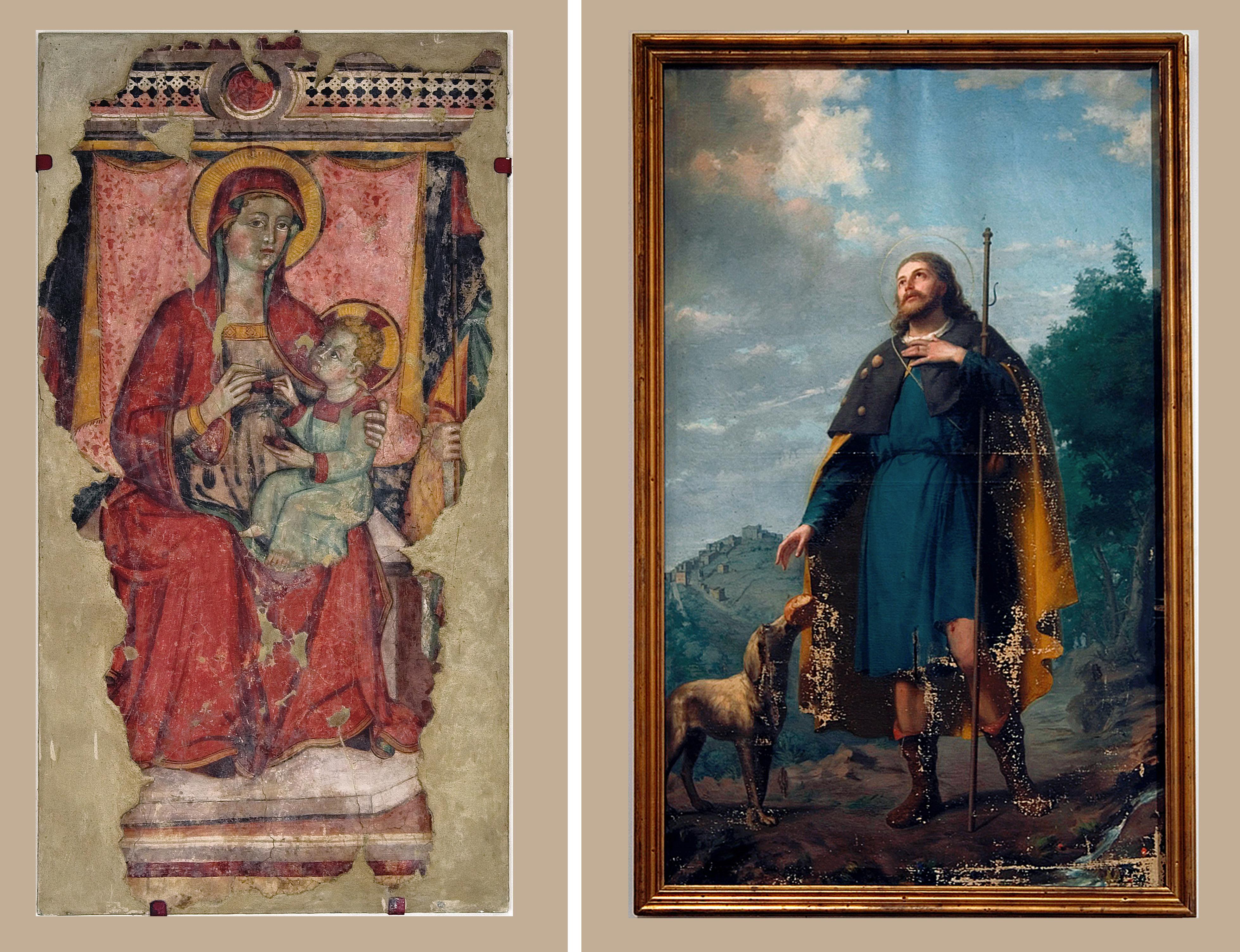 ill.3-4: Autore ignoto-Madonna delle cerase (sec.XV) -Giovanni Cingolani- San Rocco (1888)