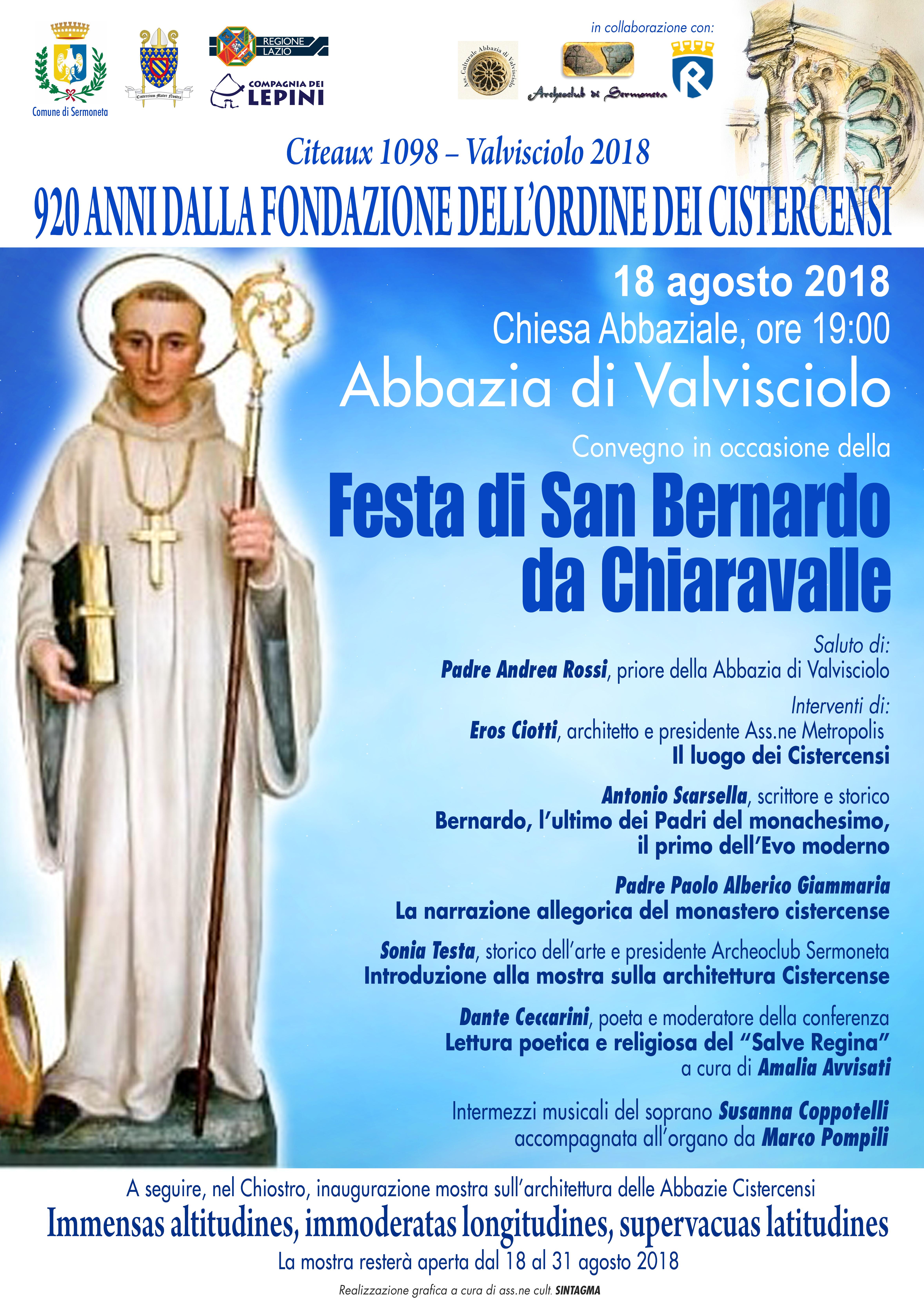 Valvisciolo, convegno in occasione della Festa di San Bernardo da Chiaravalle @ Abbazia di Valvisciolo, Sermoneta | Sermoneta | Lazio | Italia