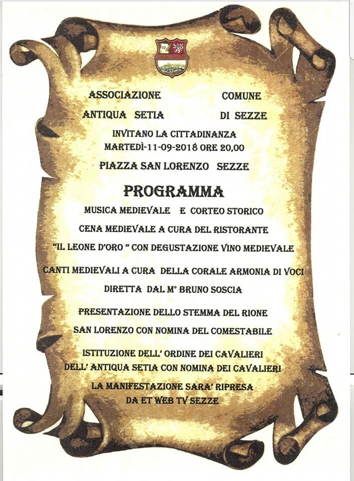 Sezze: Cena medievale con degustazione di vino medievale @ Piazza San Lorenzo   Sezze   Lazio   Italia