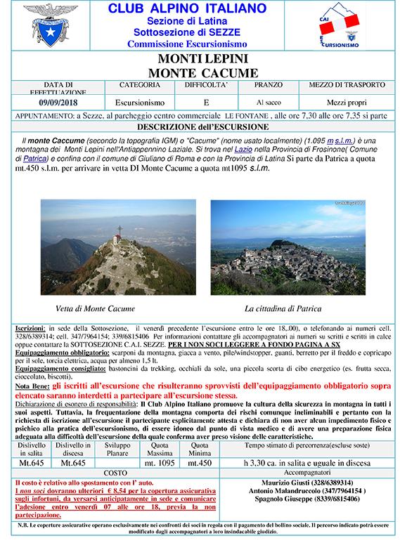 CAI Sezze: escursione verso il Monte Cacume @ Parcheggio Centro Commerciale Le Fontane   Sezze   Lazio   Italia