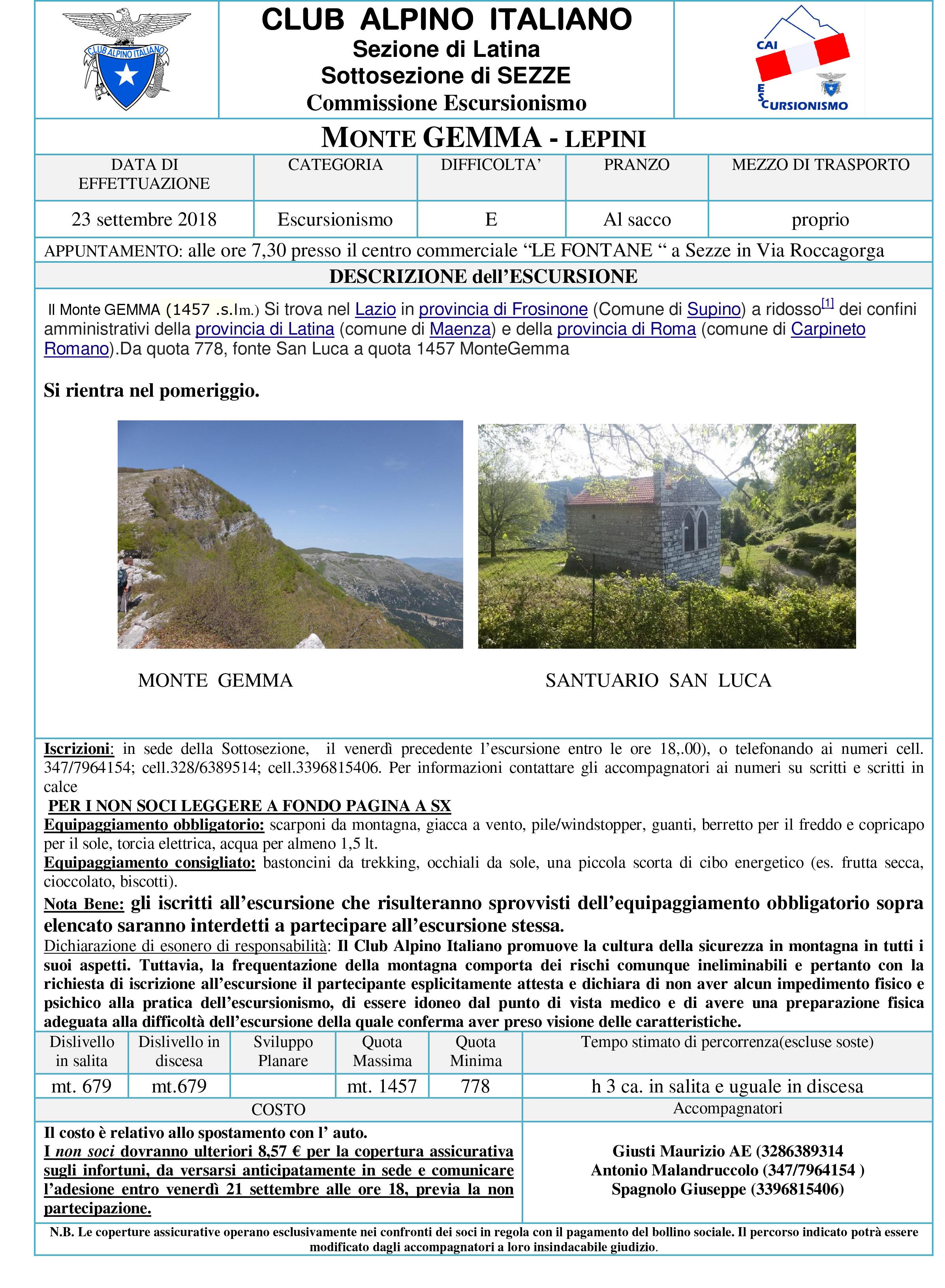 """CAI Sezze: Escursione Monte Gemma @ Centro Commerciale """"Le Fontane""""   Lazio   Italia"""