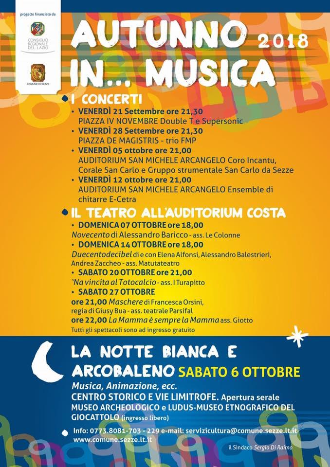 Sezze: Autunno 2018...in musica e teatro @ Sezze | Lazio | Italia