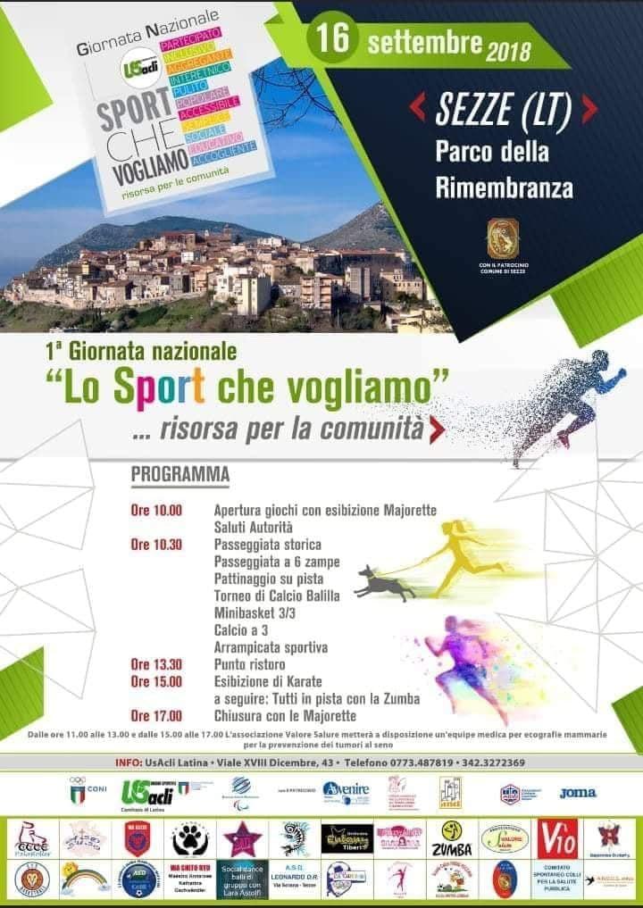 """Sezze: 1° Giornata Nazionale """"Lo Sport che vogliamo"""" @ Parco della rimembranza   Sezze   Lazio   Italia"""
