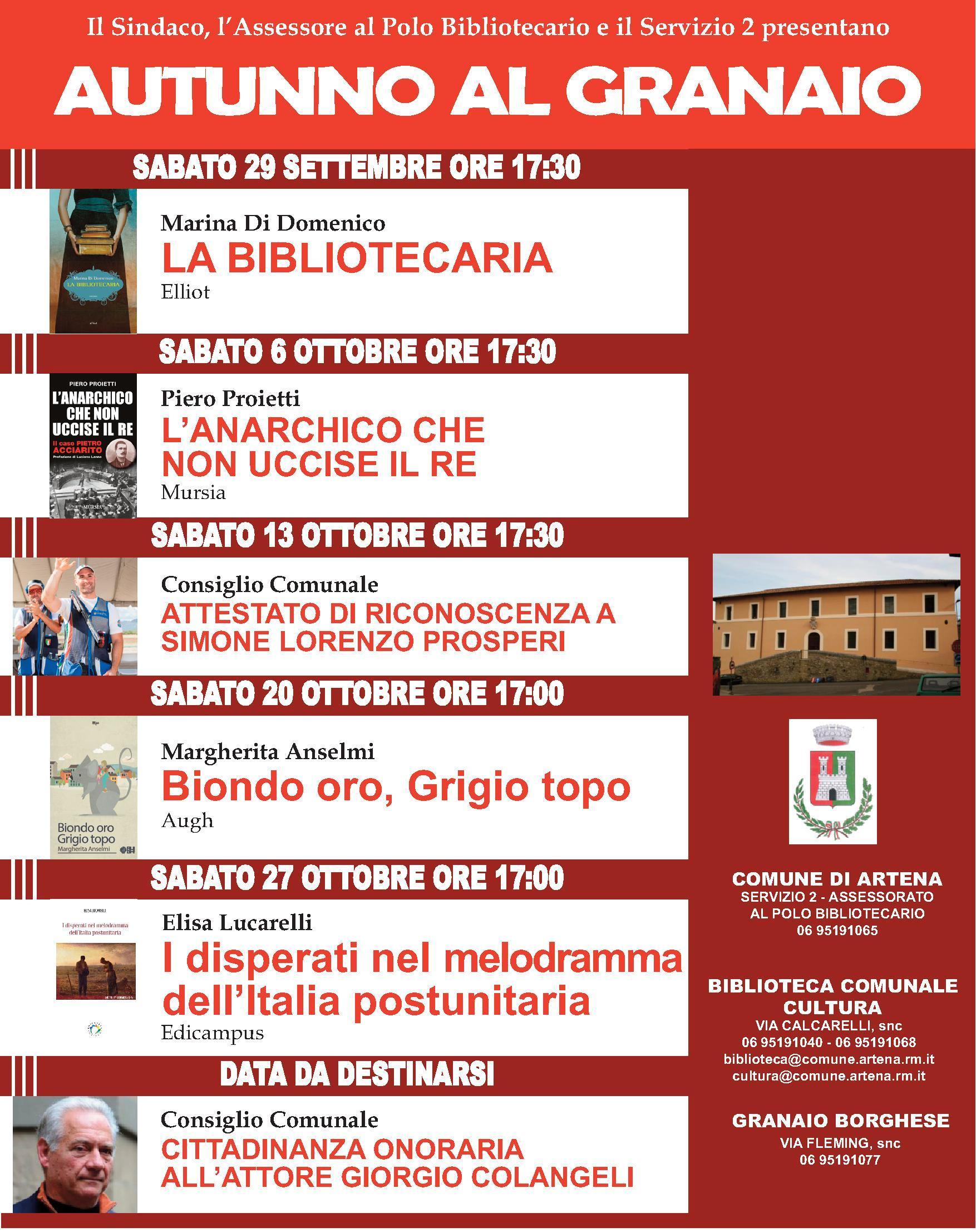 Artena: Autunno al Granaio @ Granaio Borghese | Artena | Lazio | Italia