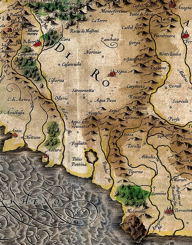 Mappa del Lazio Gerhard Mercator, 1585 - acquaforte