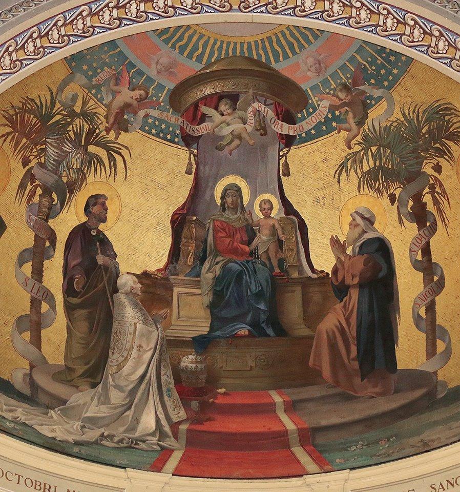 Madonna col Bambino, i santi Giuseppe e Gioacchino, e papa Leone XII Virginio Monti, 1882 affresco, part. - Carpineto Romano. Chiesa di S. Leone Magno