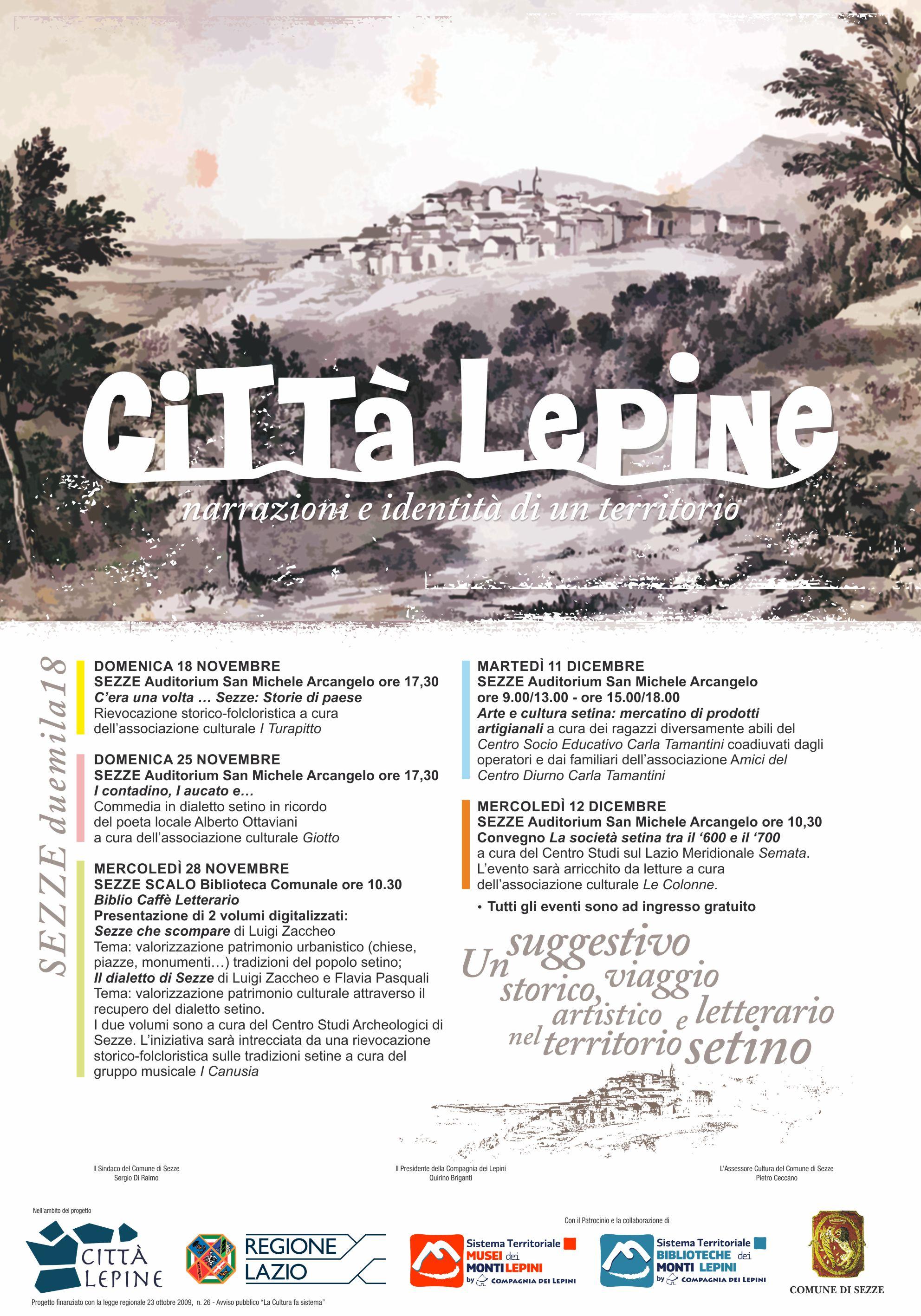 Città Lepine Sezze: Narrazioni e identità di un territorio @ Auditorium San Michele Arcangelo / biblioteca Comunale di Sezze Scalo | Sezze | Lazio | Italia