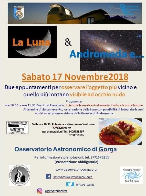 Gorga: La Luna & Andromeda e... @ Osservatorio Astronomico | Gorga | Lazio | Italia