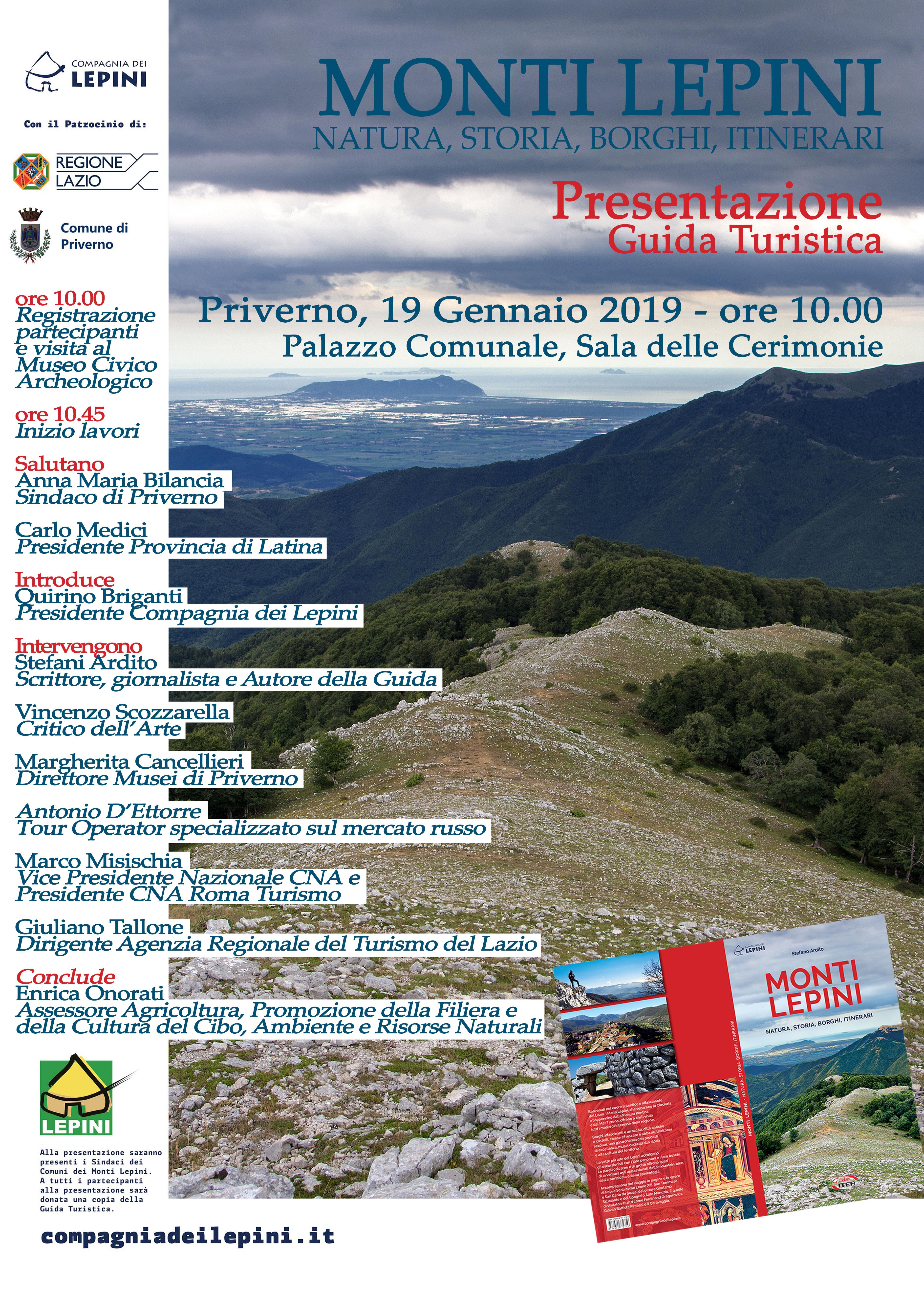 Priverno: Presentazione guida turistica dei Monti Lepini @ Sala delle cerimonie | Priverno | Lazio | Italia