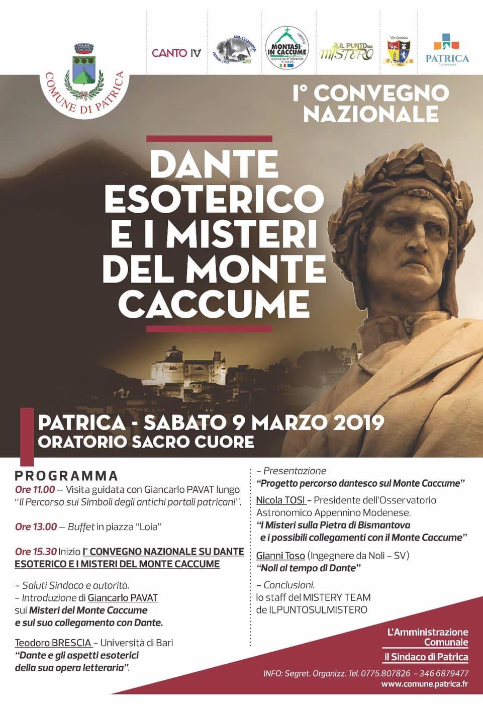 Patrica: Dante esoterico e i misteri del Monte Caccume @ oratorio Sacro Cuore | Patrica | Lazio | Italia
