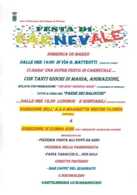 Priverno: Festa di carnevale @ via G. Matteotti | Priverno | Lazio | Italia